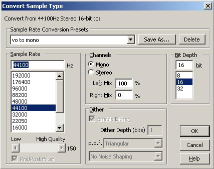 Convert sample type